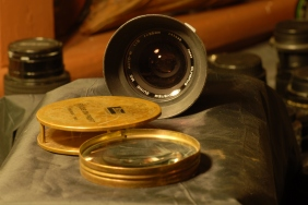 A magnifier and a 'Zuiko' lens