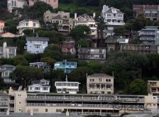 Homes in the border of the sea in Sausalito,California