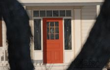 The nice red door of my front neighbour. Entering her home