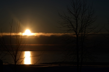 Sunrise over an iced sea